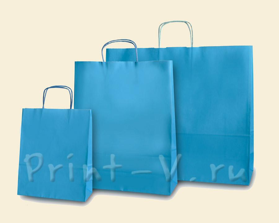 Голубые крафт-пакеты