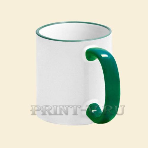 Кружка белая с зеленой ручкой и каемкой