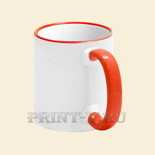 Кружка белая с красной ручкой и каёмкой