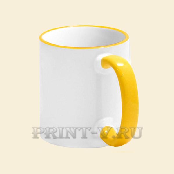 Кружка белая с жёлтой ручкой и каёмкой